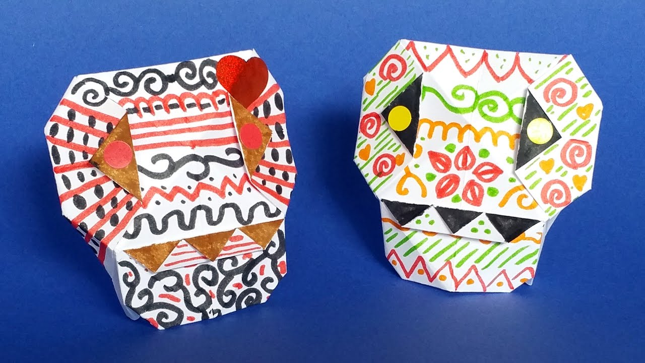 diy paper calavera skull origami tutorial �� halloween