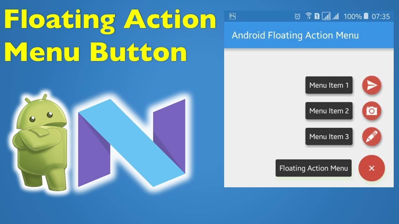 20 Android Material Design- Android Floating Action Button Menu 1/2