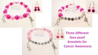 Three Cancer Awareness Pink Celets Plus Earrings