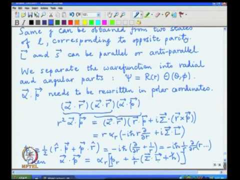 Mod-01 Lec-07 The Hydrogen atom problem, Symmetries, Parity, Separation of variables