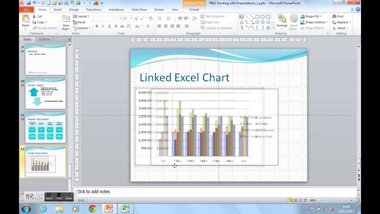 Linked charts in powerpoint not updating