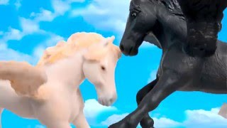 Pegasus + Unicorn Fantasy Horses Unboxing Schleich Mojo Papo Safari Toy Video Honeyheartsc