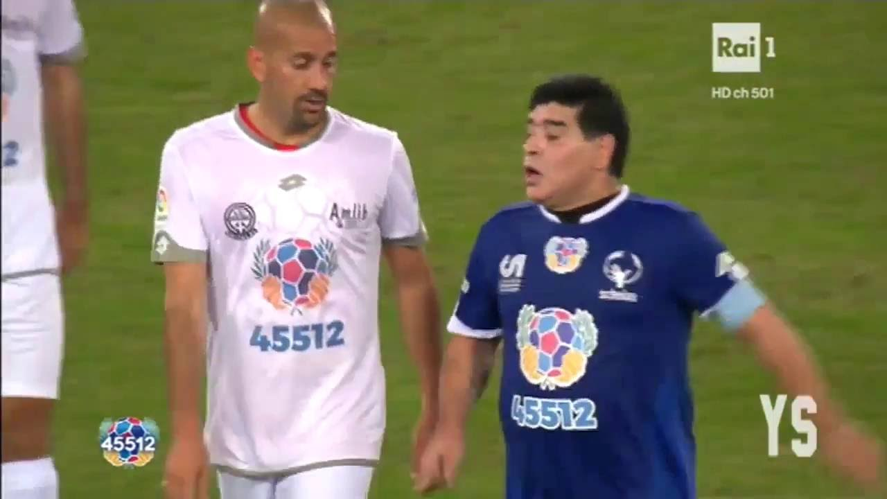 Diego Maradona vs Juan Sebastian Veron Chariet Match Fight 2016