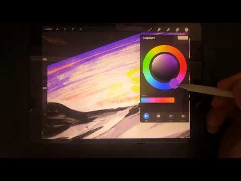 Painting in Procreate on iPad Pro Colourful and Easy Landscape 4k video day#029/365days