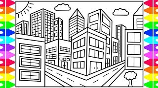 How to Draw a CITY for Kids 💙💖💚City Drawing for Kids | City Coloring Pages for Kids