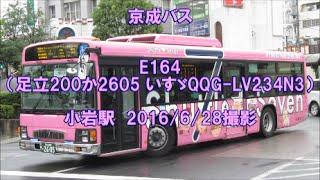 <京成バス>E164(足立200か2605 いすゞQQG-LV234N3) 小岩駅 2016/6/28撮影