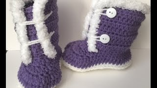 Crocheted 9 - 12 month fuzzy/ Fur Trim Boots | Video Tutorial