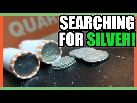 SEARCHING FOR SILVER COINS WORTH MONEY - COIN ROLL HUNTING QUARTERS!!