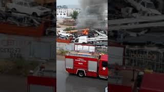 Yıldırım isabet eden hurdalıkta yangın antalya kepez de yangın yıldırım videosu