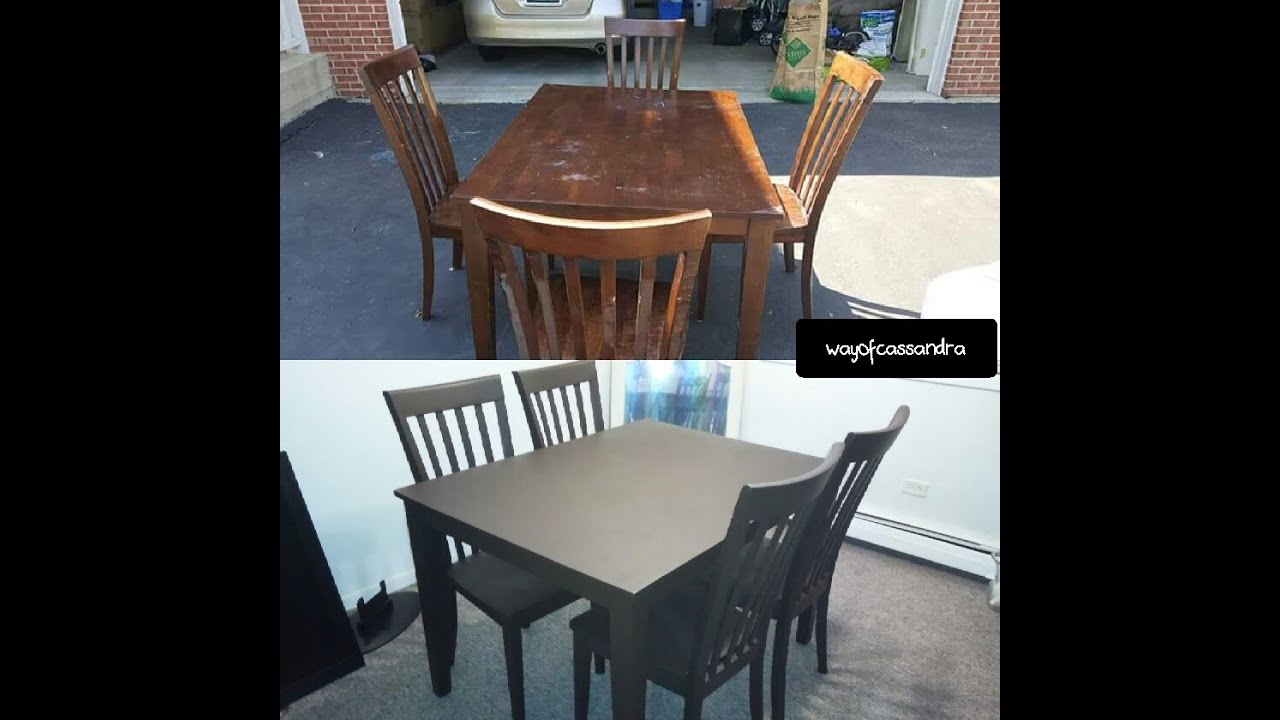 Spray painting my dining room table! - YouTube