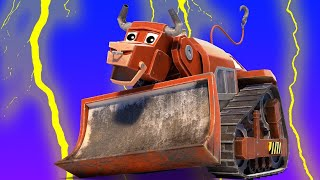 AnimaCars - The BULL BULLDOZER  is scared of the storm - kids cartoons with trucks & animals