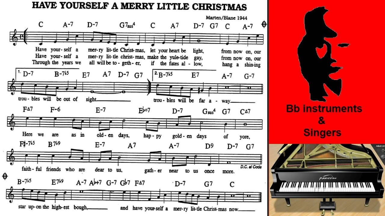 Have Yourself A Merry Little Christmas Lead Sheet.Have Yourself A Merry Little Christmas 70 Bpm Sing Play Along Bb Instruments