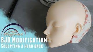 Sculpting a head back for a BJD head