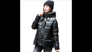 Блестящая хлопковая одежда женская зимняя короткая пуховая куртка свободная утепленная хлебная