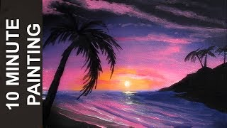 Painting a Romantic Beach at Sunset with Acrylics in 10 Minutes!