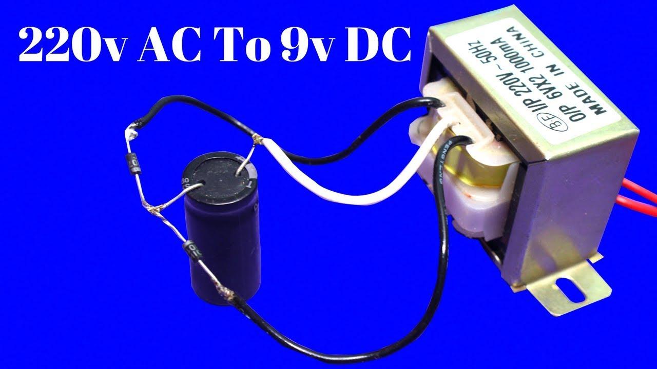 how to make 220v ac to 9v dc supply using transformer ac to dc converter easy tutorial  [ 1280 x 720 Pixel ]