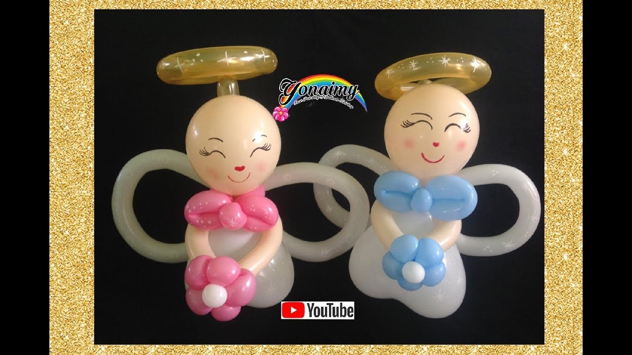 Angelitos para bautizo how to make a liitle angel - Globos para bautizo ...