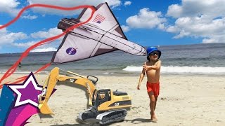 Repeat youtube video Fun Kids Activities with Max Amazing Day @ the Beach In America Swimming & Flying Kite entertainment
