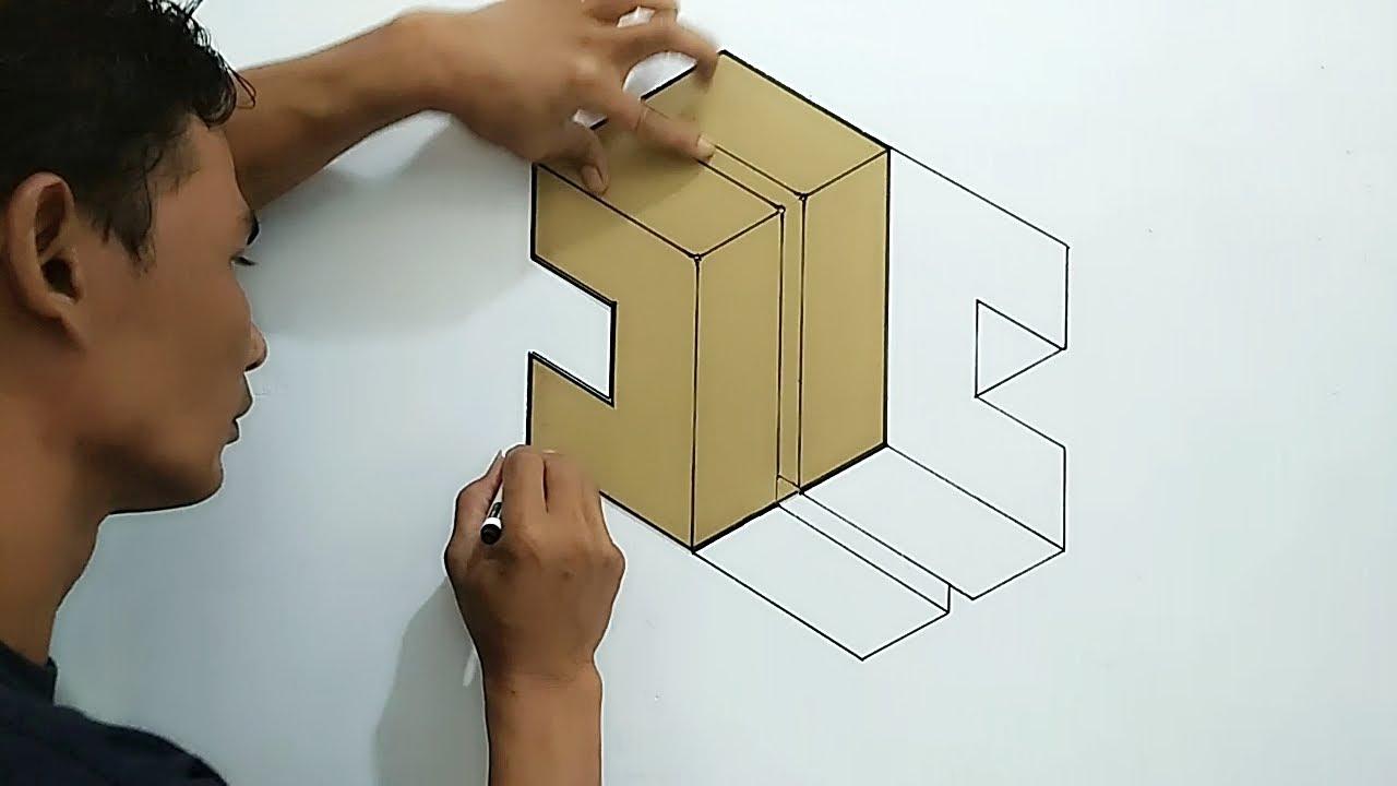 DOUBLE C ALFABETH OPTICAL ILLUSION || 3D WALL PAINTING C || HURUF C 3D