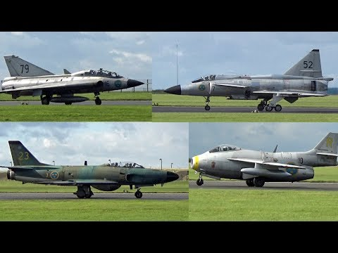 🇸🇪 Awesome Swedish Jets, Viggen, Draken, Lansen & Tunnan at Scampton Airfield.