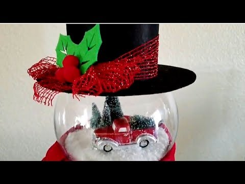 LIGHTED SNOWMAN FISH BOWL DIY PINTEREST INSPIRED