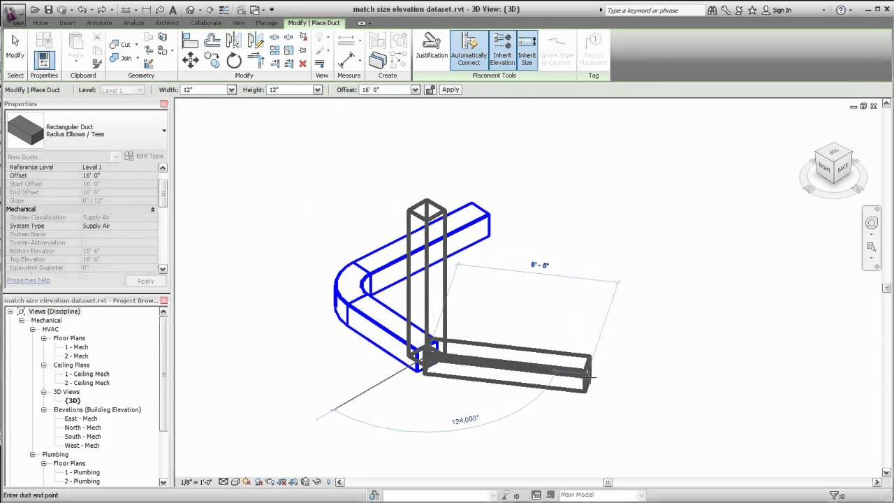 Autodesk Revit MEP: Matching Size or Elevation for Duct