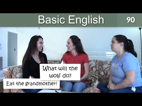 """Lesson 90 ?????Basic English with Jennifer ??""""Little Red Riding Hood"""" (Present & Future Verbs)"""