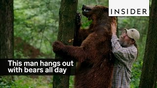This man hangs out with grizzly bears all day