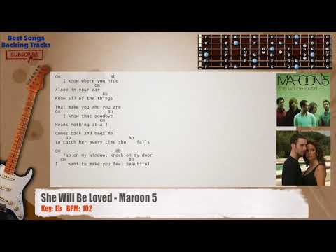 She Will Be Loved - Maroon 5 Guitar Backing Track with chords and ...