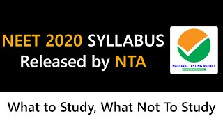 NEET 2020 Syllabus Released by NTA | What Topics You have to Study for NEET 2020