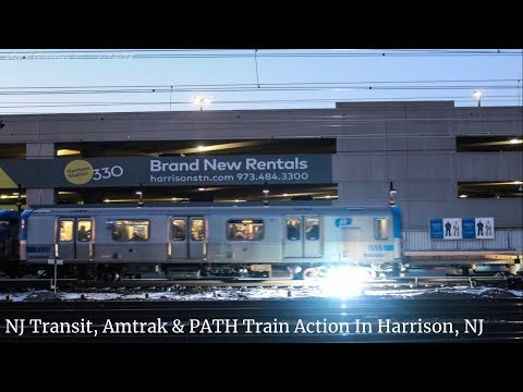 NJ Transit, PATH & Amtrak Train Action in Harrison, New Jersey