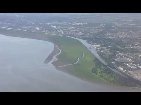 Flight over the River Mersey & Manchester Ship Canal, Ellesmere Port, England - July 2014