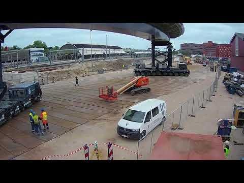 Timelapse opvijzelen en inrijden Busbrug Zwolle