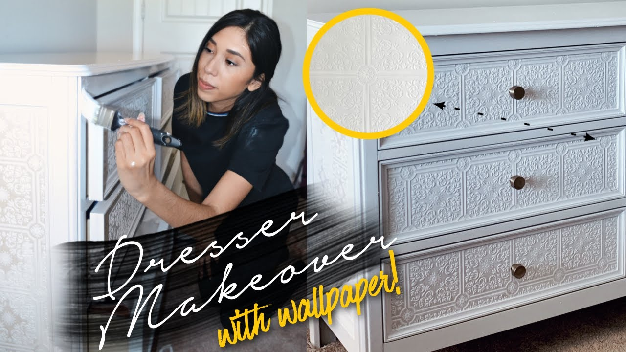 DIY Dresser Makeover // Textured Wallpaper Hack