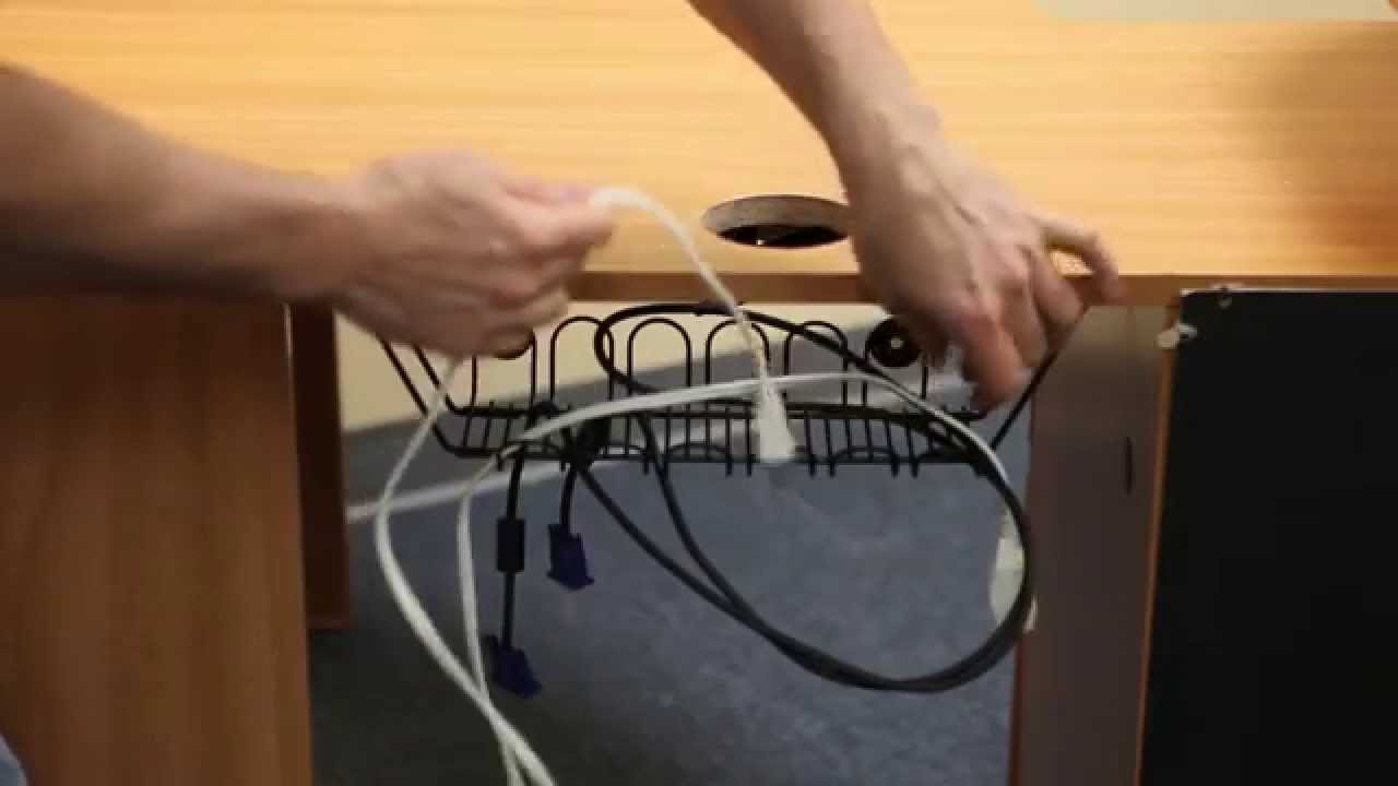 Cable Corral - Under Desk Wire Basket - YouTube