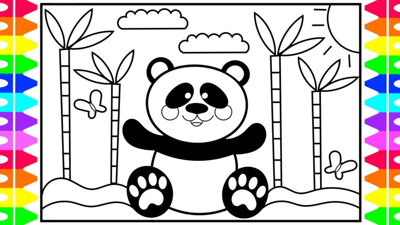 How to Draw a Cute PANDA Step by Step for Kids 🐼🖤💗 Cute ...