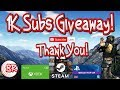 1K Subscribers GIVEAWAY! - THANK YOU! - FREE ENTRY - XBOX PSN STEAM GIFT CARD
