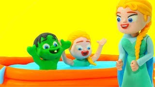 SUPERHERO BABIES PLAY AT THE POOL ❤ Hulk & Frozen Elsa Play Doh Cartoons For Kids