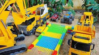 Construction Toy Excavator, Dump Truck, Build Bridge Block Toys Play