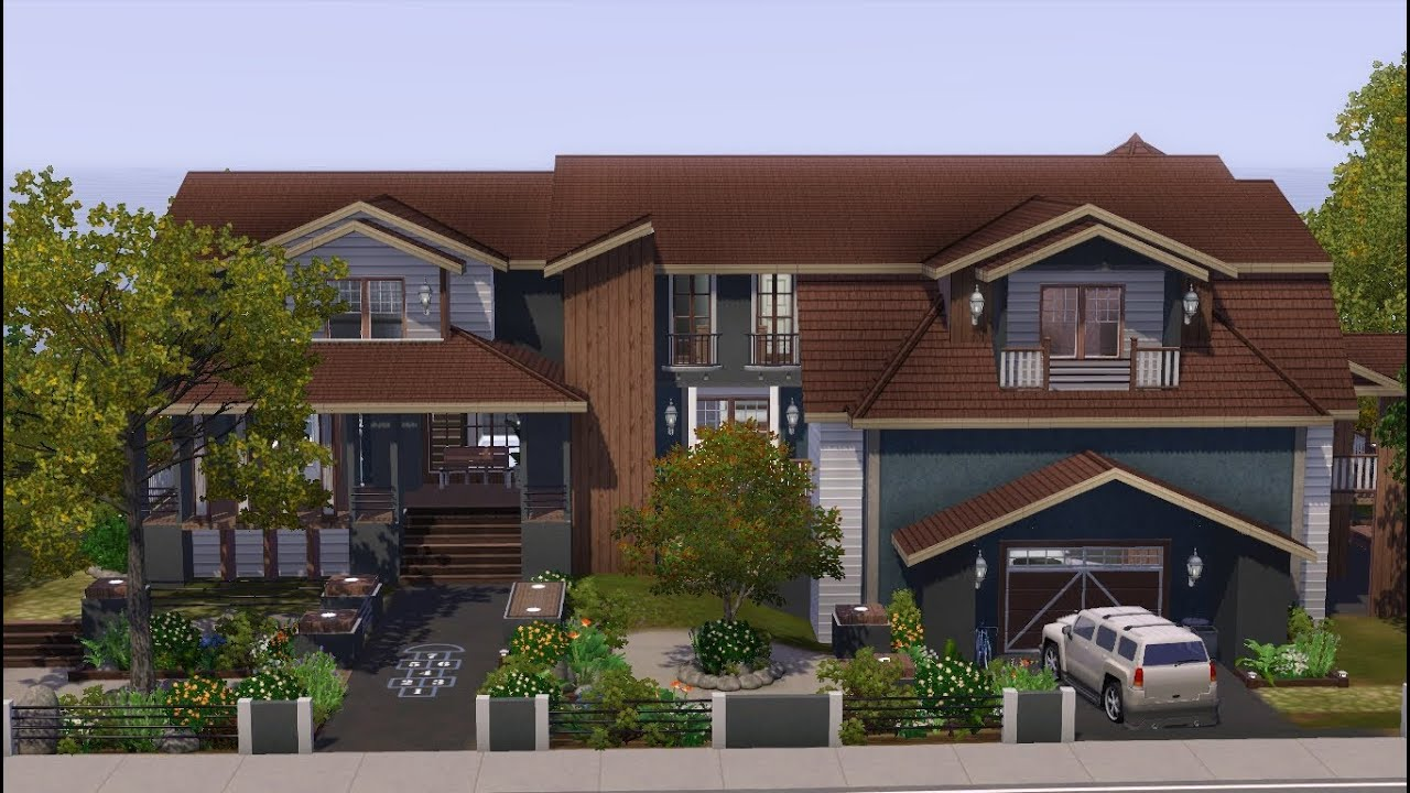The sims 3 house building saddle stone youtube for Three family house plans