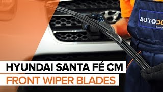 How to change front wiper blades on HYUNDAI SANTA FÉ CM TUTORIAL | AUTODOC