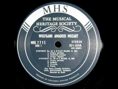 Mozart karl ristenpart 1958 symphony no 24 in b flat major k 182