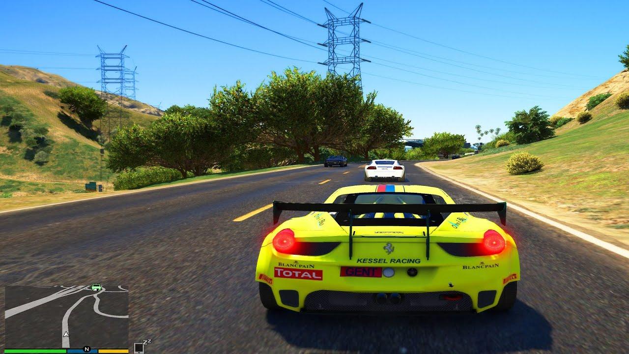 Grand Theft Auto 5 4K Ultra Graphics Ferrari Race Car Gameplay - GTA 5 PC 4K 60FPS