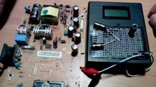Измеритель емкости и ЭПС конденсаторов. ESR meter. Дополнение.(Проверка негодных конденсаторов. Если по вздутым видно что они вышли из строя, то по конденсатору 1000 мкфх16в..., 2013-09-26T11:44:29.000Z)
