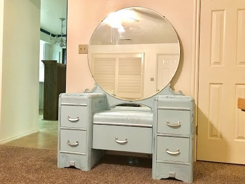 Vintage Vanity Makeover!!!  Turquoise and Silver