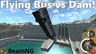 BeamNG Drive: HUGE Dam + Targets + ROCKET BUS!?