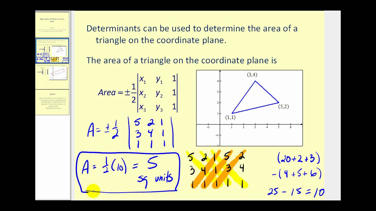 Determinant and Area (solutions, examples, videos ... on