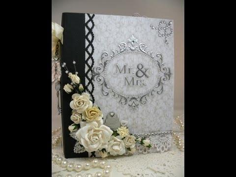 Beautiful Monochromatic Keepsake Wedding Scrapbook Mini