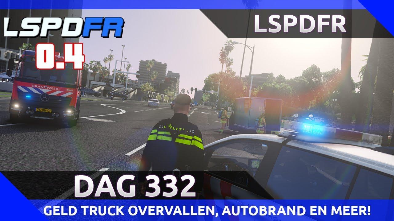GTA 5 lspdfr dag 332 - Geld truck overvallen, vrachtwagen brand en illegalen in vrachtwagen?!
