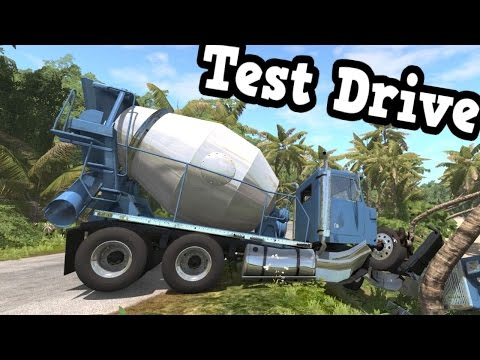 BeamNG Drive - Cement Mixer Truck Test Drive Ended by a Crash